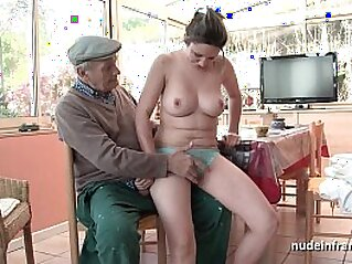 Nice titted french brunette banged by Papy Voyeur   amateur banged blowjob boobs